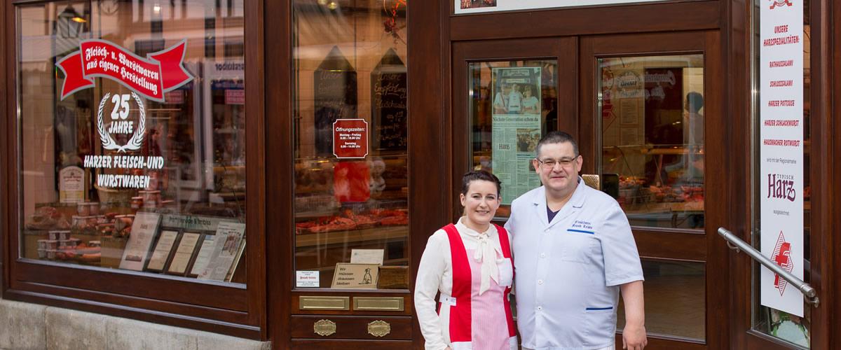 Fleischerei Leiste - Inhaber Frank Leiste mit Tochter Melissa